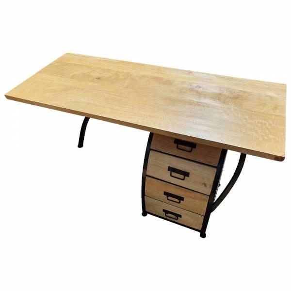 Schreibtisch Bürotisch mit Büro-Container 160cm Holz Design Handarbeit Unikat