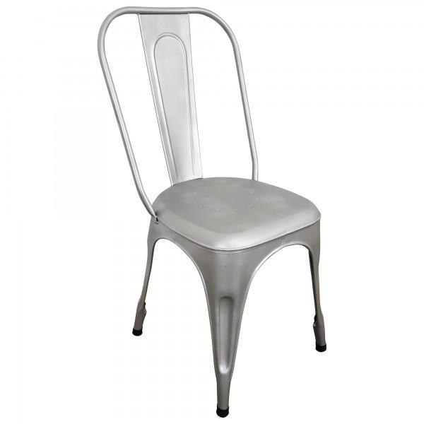 Stuhl Metall Industrie Design Silber grau stapelbar Esszimmerstuhl Retro Airman