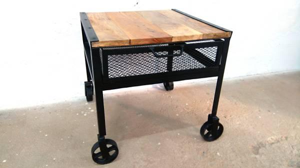 Couchtisch Beistelltisch Tisch auf Räder Mango Massiv-Holz 60 cm Lounge Loft Art
