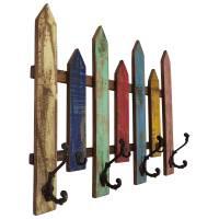 Wand Garderobe Vintage Garderobenleiste 7 Haken Flur Holz Bunt Recycelt Shabby