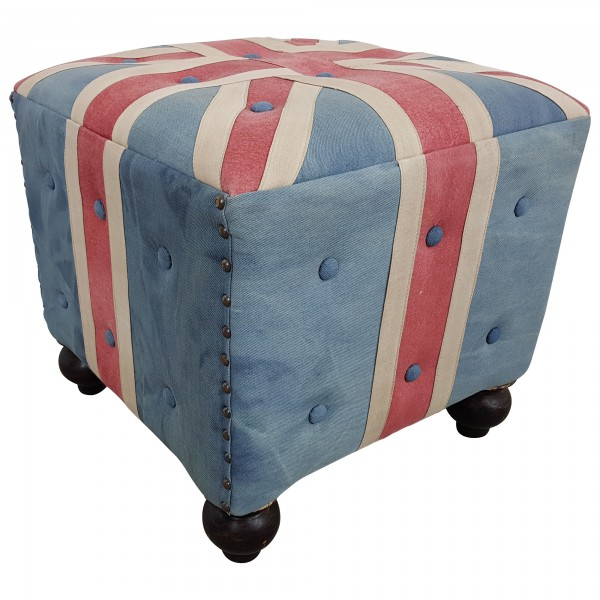 Sitzhocker Sitzwürfel Hocker Union Jack UK Flagge Motiv England Chesterfield Loft