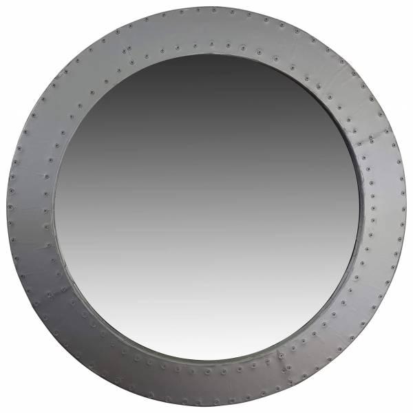 Spiegel rund Wandspiegel silber Ø 60 cm Durchmesser Alu Aviator Industrial Design