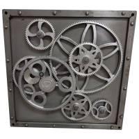Metallbild 3D Wandbild Zahnräder Deko Design Industrial Style Wand Kunst Bar