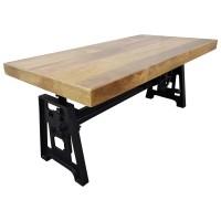 Couchtisch Mango Höhenverstellbar Massiv-Holz Loft Fabrik Industrie Crank Table
