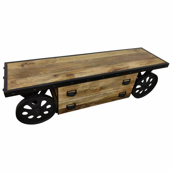 Tv Lowboard Mobel Mit Radern Sideboard Schrank Mango Holz Industrial