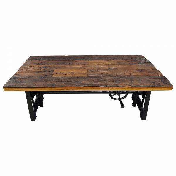 Couchtisch Altholz Höhenverstellbar Kurbel Massiv-Holz Metall Design Crank Table