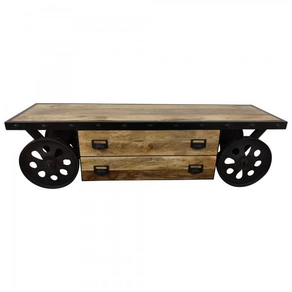 tv lowboard m bel mit r dern sideboard schrank mango holz. Black Bedroom Furniture Sets. Home Design Ideas