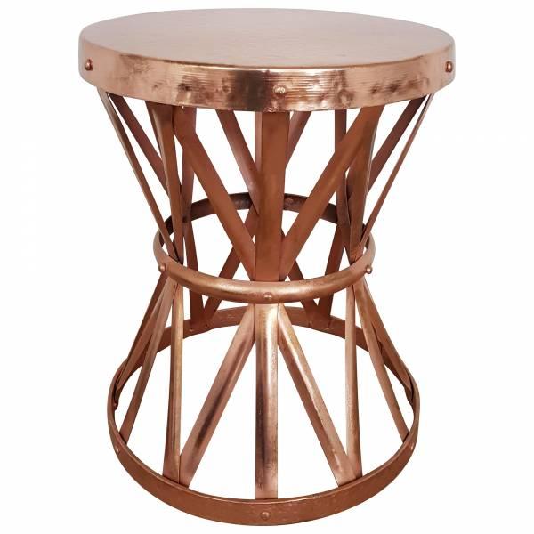 Beistelltisch Ablagetisch Kupfer Ø Rund Metall Loungetisch Tisch Hammerschlag