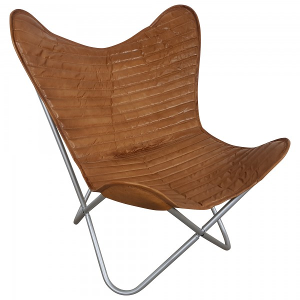 Butterfly Chair Sessel Design Lounge Stuhl echt Leder braun Loungesessel Retro