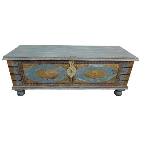 Truhe Kiste Holztruhe Vintage Blau Box aus Altholz Antik Handarbeit Unikat 15