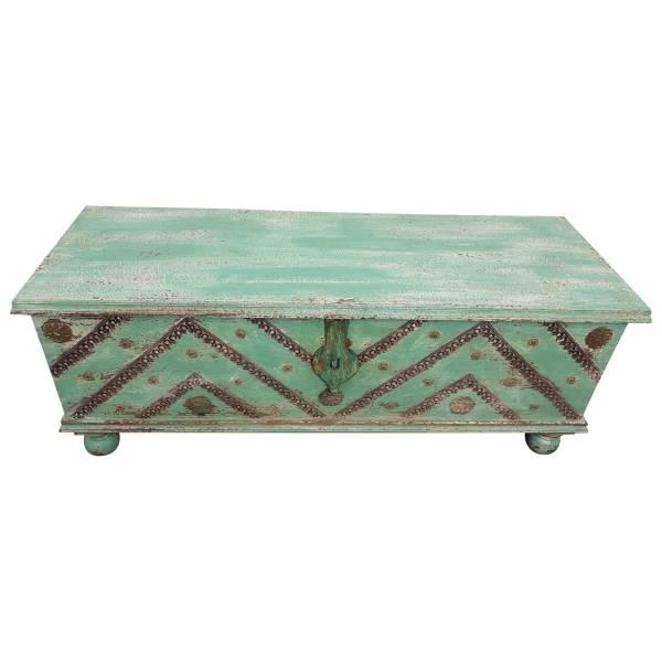 Truhe Kiste Holztruhe Vintage Grün Box aus Altholz Antik Handarbeit Unikat 12
