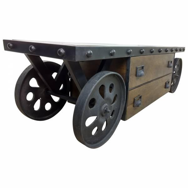 TV-Lowboard Möbel mit Rädern Sideboard Schrank Massiv-Holz Industrial Design Art