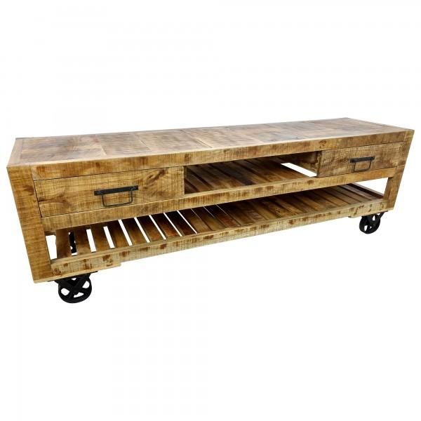TV-Lowboard Möbel Sideboard mit Rädern Schrank Massiv-Holz Wohnzimmer Design Art