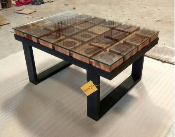 Couchtisch Lounge Tisch Baumstamm Massiv Holz Metall Gestell Schwarz Loft Design
