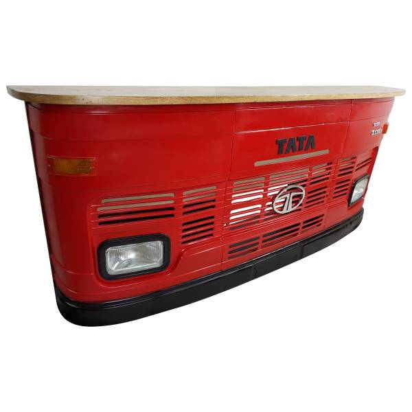 Theke Empfangstresen LKW Bar Tresen Tata groß rot Vintage Design Empfangstheke Metall Anrichte