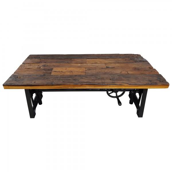 couchtisch altholz h henverstellbar kurbel massiv holz metall design crank table couchtische. Black Bedroom Furniture Sets. Home Design Ideas