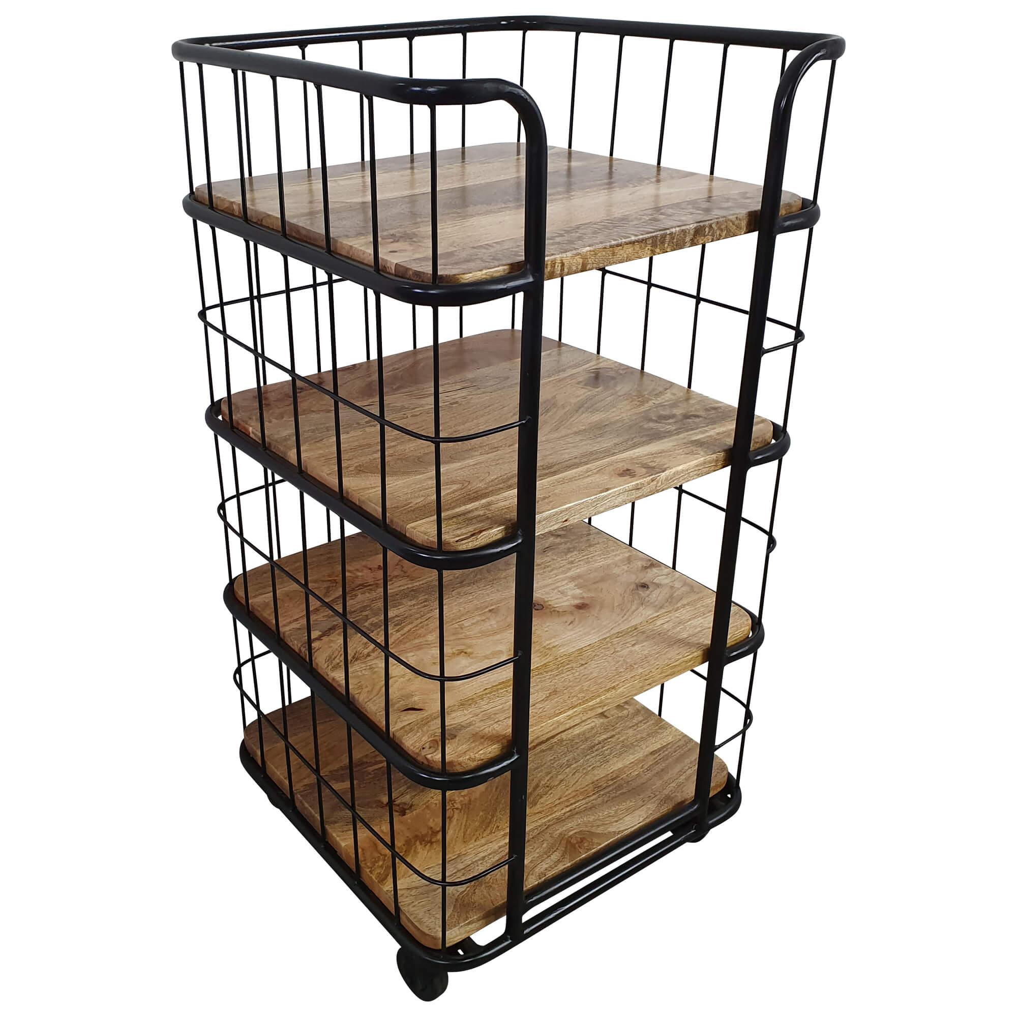 Kuchenwagen Mehrstockig 4 Boden Rollen Regal Industrie Design Holz
