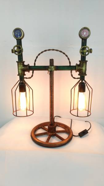 lampe tischleuchte pipe steampunk industrial industrie art retro vintage design lampen. Black Bedroom Furniture Sets. Home Design Ideas