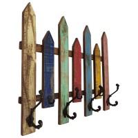 Wand-Garderobe Garderobenleiste 7 Haken Flur Holz Bunt Recycelt Shabby Vintage