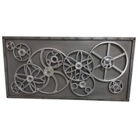 Metalbild 3D Wandbild Zahnräder 120x60 Design Industrial Style Wall Art Bar