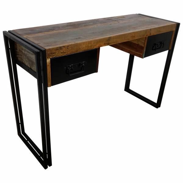 Schreibtisch Upcycling schwarzes Metall 120 cm bunt uselook Vintage Industrial