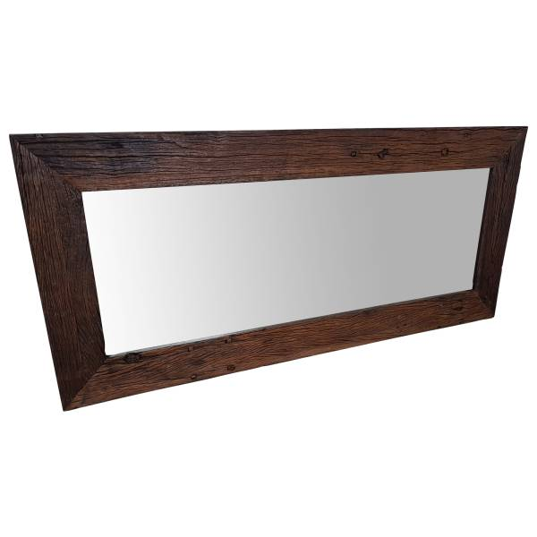 Wandspiegel Spiegel Altholz Schwemmholz mit Holzrahmen Vintage Massiv rustikal Antik braun