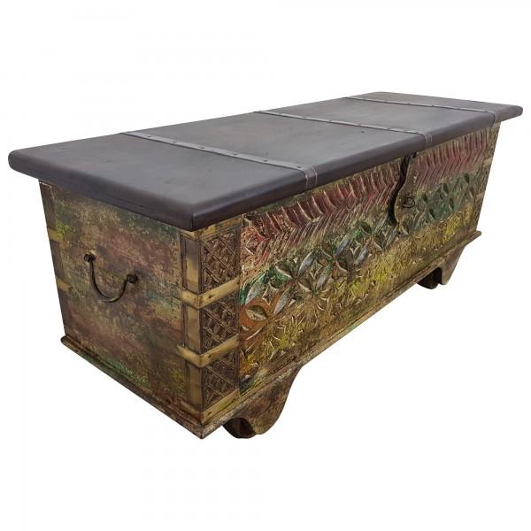 Truhe Kiste Holztruhe Vintage Massiv Box aus Altholz Antik Handarbeit Unikat 14