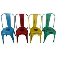Bistro-Stuhl Esszimmerstuhl Stapelbar Metall Retro Vintage Loft Chair Farbe gelb