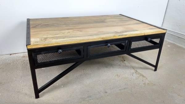 Couchtisch Wohnzimmer-Tisch 120 x 80 cm Mango Massiv-Holz Industrial Design Loft