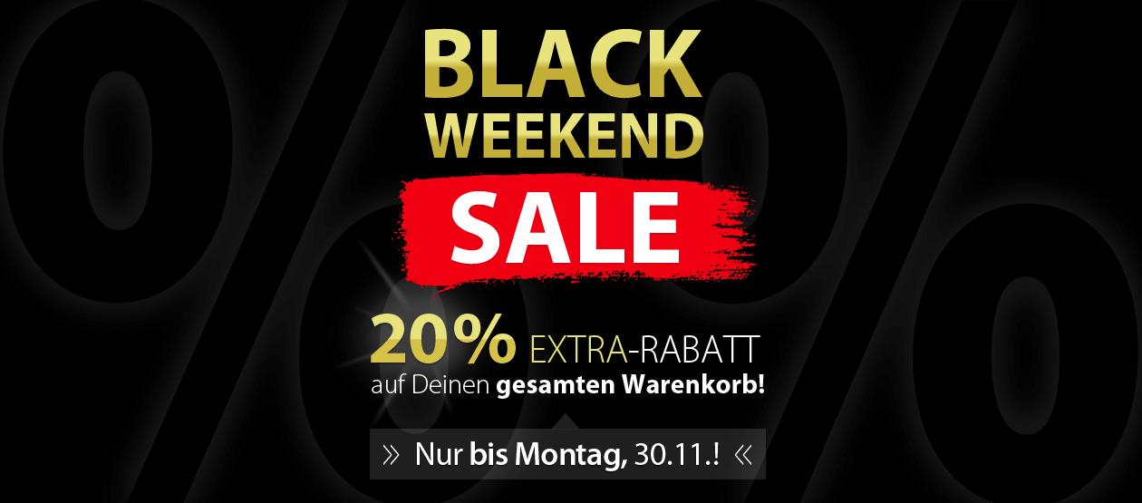 BLACK WEEKEND SALE!! - 20% EXTRA-RABATT auf Deinen gesamten Warenkor! Nur bis Mo. 30.11.