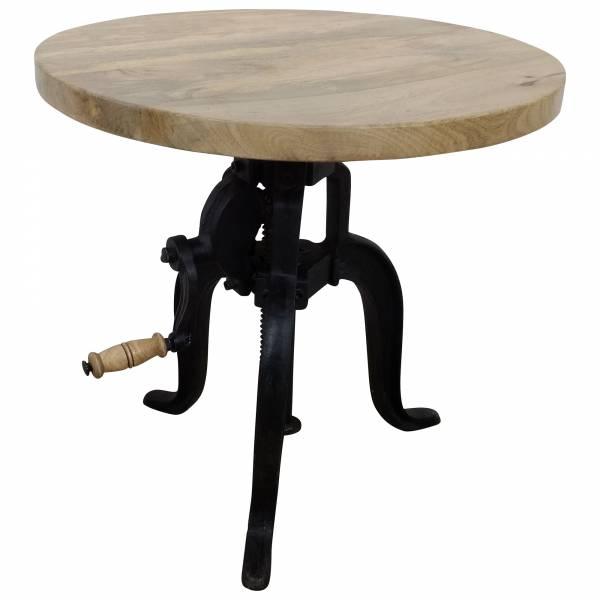 Beistelltisch Tisch Rund Ø Höhenverstellbar Mango-Holz Funktion Industrie Design