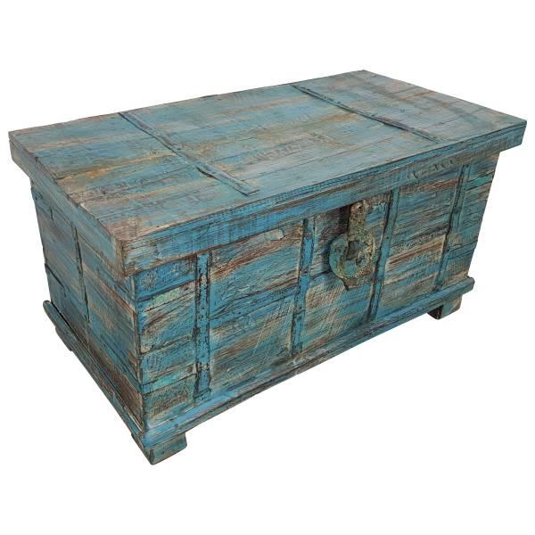 Truhe Kiste Holztruhe blau Box Vintage Massiv Shabby Chic aus Handarbeit Unikat