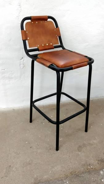 Barhocker Barstuhl Leder Tresen Theke Metall Industrie Design Modern Loft Lounge