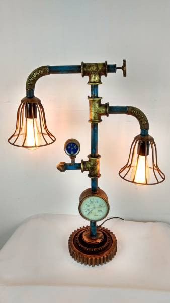 industrie design lampe aus wasserrohren leuchte pipe art steampunk retro fabrik ebay. Black Bedroom Furniture Sets. Home Design Ideas
