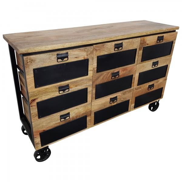 Kommode Schrank Sideboard Räder Rollbar Massiv Holz Apotheker Industrial  Design