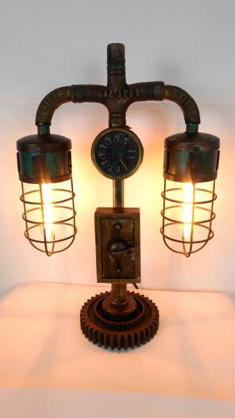 industrial design lampe aus wasserrohren leuchte pipe art steampunk retro fabrik ebay. Black Bedroom Furniture Sets. Home Design Ideas