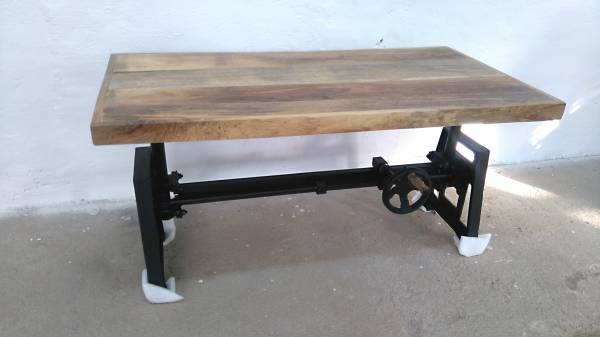 couchtisch mango h henverstellbar massiv holz loft fabrik industrie crank table ebay. Black Bedroom Furniture Sets. Home Design Ideas