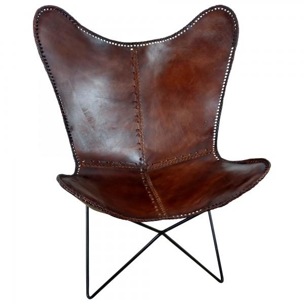original butterfly chair design sessel retro stuhl echt leder braun loungesessel ebay. Black Bedroom Furniture Sets. Home Design Ideas