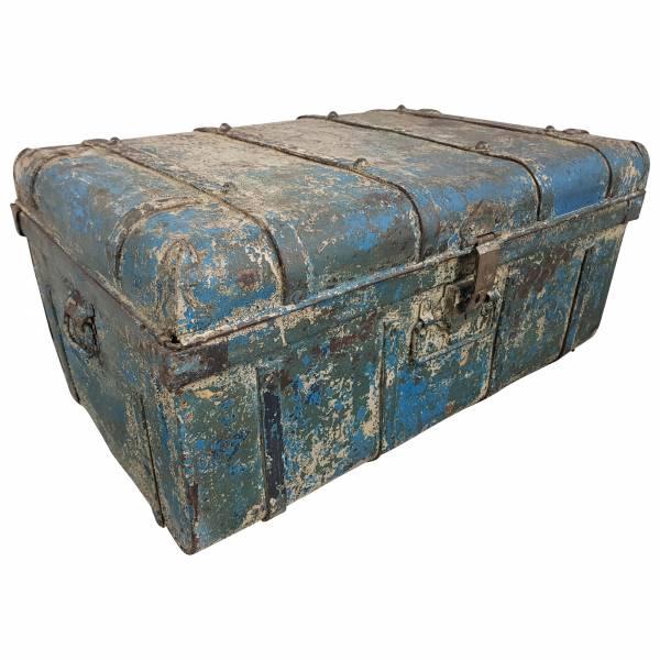 Alter Blechkoffer antiker Metallkoffer blau 74 x 49 Vintage Shabby Chic Unikat 5 IT10119