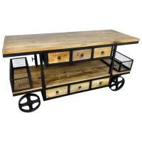 Kommode Schrank Sideboard mit Rädern Mango Massiv-Holz Höhenverstellbar Design