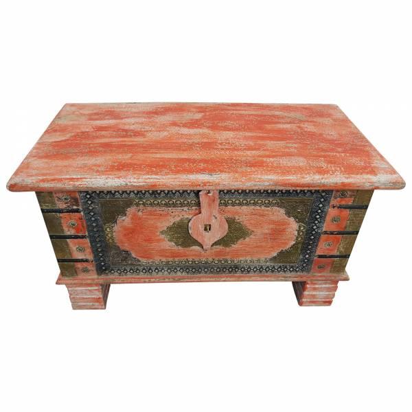Truhe Kiste Holztruhe Box 80 Vintage Rot Shabby Chic aus Handarbeit Unikat 5