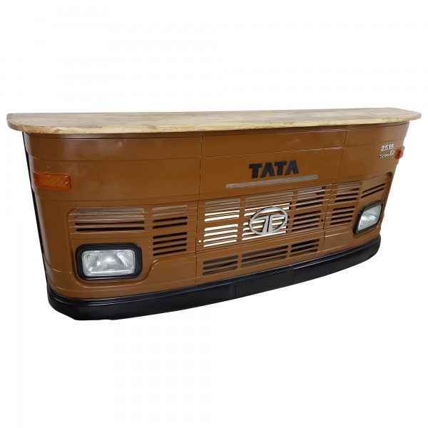 Theke Tresen LKW Front Tata Braun Empfangstresen Empfangstheke Holz Retro Design