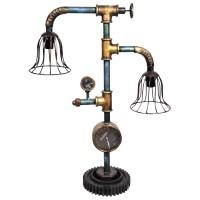 Tisch-Lampe Leuchte Pipe Steampunk Industrial Industrie Design Retro Vintage Art