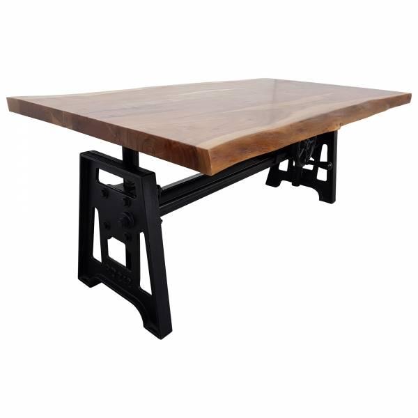 Couchtisch Baumstamm Baumkante Höhenverstellbar Kurbel Massiv Design Crank Table