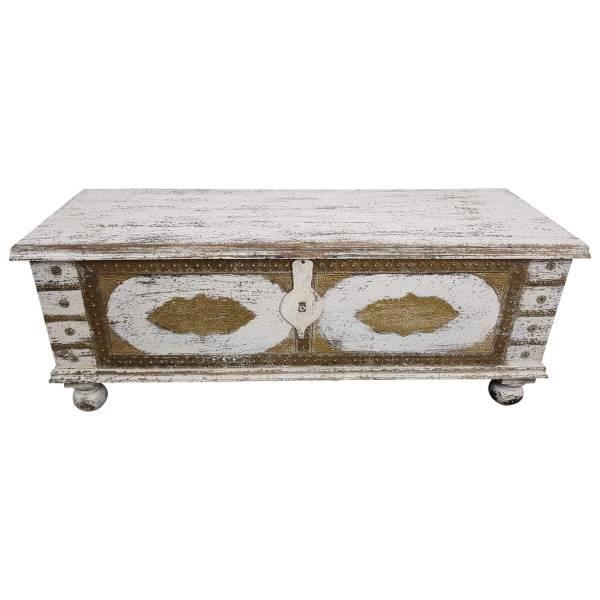 Truhe Kiste Holztruhe Vintage Weiß Box aus Altholz Antik Handarbeit Unikat 13