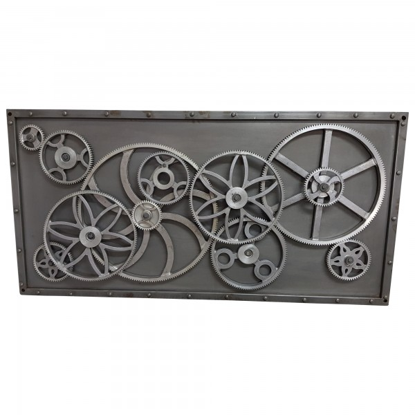 Metalbild 3D Wandbild Zahnräder 120x60 Design Industrial Style Wall Art Bar