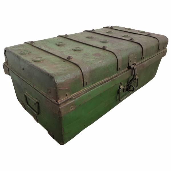 Alter Blechkoffer antiker Metallkoffer grün 68 x 36 Vintage Shabby Chic Unikat 1 IT10043