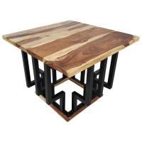 Couchtisch Lounge-Tisch Sheesham Massivholz 60cm Bar Bistro Cafe Loft Industrial