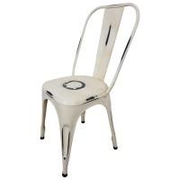Bistro-Stuhl Esszimmerstuhl Stapelstuhl Industriedesign Metall Vintage Factory weiß