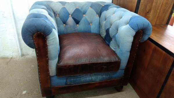 Jeans Sessel Vintage Chesterfield Design Polster Relaxsessel Armlehnstuhl Unikat